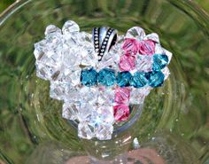Pink and Teal Awareness Ribbon Swarovski Crystal Heart Floating Necklace, Hereditary Breast Cancer Awareness, Raise Awareness on Etsy, $40.00