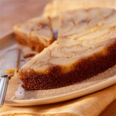 Pear Upside-Down Gingerbread Cake Recipe | MyRecipes.com