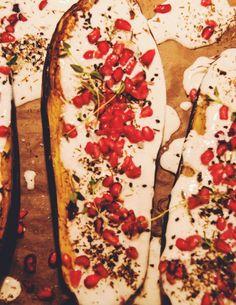 Buttermilch-Aubergine mit Granatapfel | Kochgehilfin
