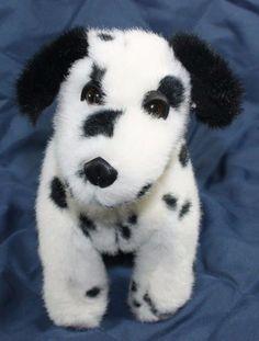 "Plush stuffed Dalmatian Puppy dog white black spotted 10"" Sitting Lovey Toy A #CApLUSHllc"