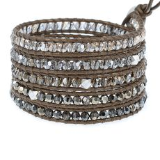 Bronze Mix Crystal Wrap Bracelet on Kansa Leather