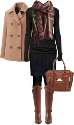 #fall #outfits / Plaid Scarf + Coat