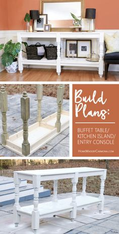 Build a DIY rustic Buffet Table with these free plans. This gorgeous furniture p. Build a DIY rustic Buffet Table with these free plans. This gorgeous furniture piece could be used for an entry console, or a kitchen island! Diy Furniture Table, Diy Furniture Plans Wood Projects, Building Furniture, Diy Table, Repurposed Furniture, Rustic Furniture, Furniture Makeover, Furniture Stores, Furniture Ideas