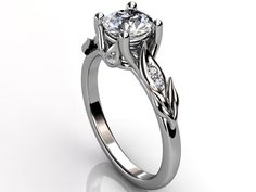 14k white gold diamond unusual unique floral engagement ring, bridal ring, wedding ring ER-1047-1 by Jewelice on Etsy https://www.etsy.com/listing/151668026/14k-white-gold-diamond-unusual-unique