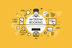 Taxi booking hero banners set @creativework247