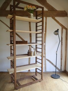 Ladder Shelving made from Black Walnut and veneered Maple by Barnby & Day.