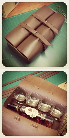 Whisky Bottle & Glass Leather Bag