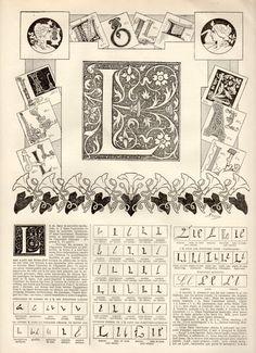 L Alphabet Antique Print 1897 Lithograph Letter L by Craftissimo, €12.00