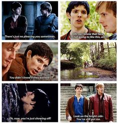 """Merlin and Arthur's face in the last one describes their """"he's my servant/king but my brother too"""" relationship perfectly! <4"""