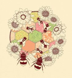 Honeycomb illustration with Decorative Paper by Colleen Parker