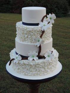 Dogwood Blossoms & Ruffled Wedding Cake