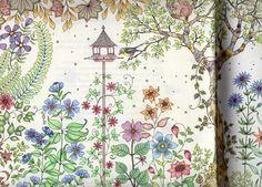 """Uit het kleurboek """"Mijn geheime tuin"""" van Johanna Basford. De eerste bladzijde, wordt vervolgd.... MoniMerel"""