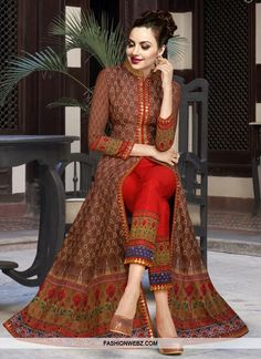 A very pretty Red Embroidery Work Printed Silk Chiffon Designer Fancy Long Anarkali Suit,