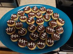 Football mini cupcakes for the Super Bowl