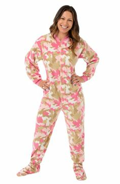 Big Feet Pjs Pink Camo Micro-polar Fleece Adult Footed PJs w Drop Seat L.  Will not shrink 6c39cb78e
