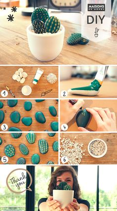 do I create an artificial cactus with pebbles? - e-low - DIY ideas How do I create an artificial cactus with pebbles? - e-low - DIY ideas -How do I create an artificial cactus with pebbles? - e-low - DIY ideas - Diy Home Crafts, Decor Crafts, Fun Crafts, Diy Para A Casa, Rock Cactus, Cactus Cactus, Indoor Cactus, Artificial Cactus, Cactus Craft