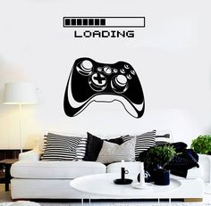 """Universe of goods - Buy """"WXDUUZ Vinyl Wall Decal Gaming Art Joystick Loading Video Game Stickers Mural Vinyl living room space Wall Sticker for only USD. Gamer Bedroom, Teen Wall Art, Diy Home Decor Bedroom, Game Room Decor, Vinyl Wall Stickers, Wall Vinyl, Room Themes, Boy Room, Xbox"""