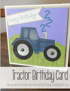 Little Boy Tractor Birthday Card