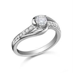 1/2 CT. T.W. Round Diamond Swirl Engagement Ring with Side Accents in 14K White Gold - View All Rings - Zales