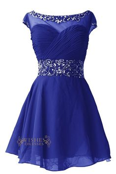 A-line Beaded Cap Sleeves Illusion Top Short Homecoming Dresses Am72