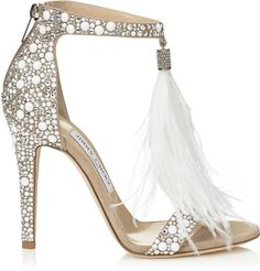 VIOLA 110 White Suede and Hot Fix Crystal Embellished Sandals with an Ostrich Feather Tassel