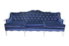 New!+Easton+Navy+Sofa: Gorgeous+rich+navy+velvet+sofa,+tufted+back,+cream+frame.++