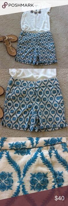 "LOFT Riviera Short LOFT Riviera Shorts. 100% linen with teal blue colored embroidered detail. Lined. Front pockets. Front zip and hook closure. 6"" inseam. Laying flat waist approx 15"" across. Size 0. NWT, never worn.  #363 LOFT Shorts"