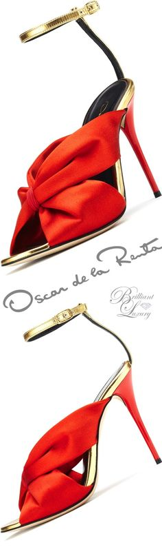 Brilliant Luxury ♦ Oscar de la Renta 'Angelica' Poppy Satin & Specchio Sandals