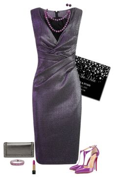 """""""Wedding guest"""" by julietajj on Polyvore featuring Talbot Runhof, Christian Louboutin, Lancôme, Gucci, Honora and Ice"""