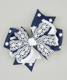 Bubbly Bows Navy & White Lace Bow Clip