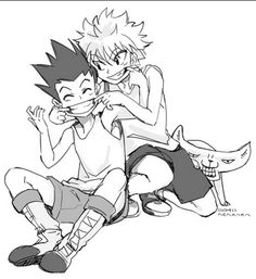 Hunter x Hunter Gon and Killua. Is that mike in the background xD Omg!!! I'm dying!