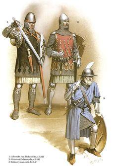 Germans: • Albrecht von Hohenlohe, c. 1325 • Otto von Orlamünde, c. 1340 • Infantryman, mid-14th C 14th century troops by McBride