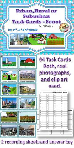 $  This is a set of 64 task cards, which require students to distinguish between urban, suburban and rural scenes.  Both real photographs and clip art scenes are used, to give a good variety.  Recording sheets and answer key included.  I have a more comprehensive unit that can be found in my TPT store, if you are looking for more than just task cards. 2nd, 3rd, 4th grade and homeschoolers. $