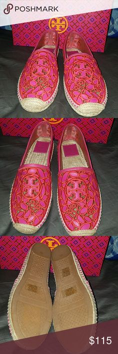 Tory Burch Lucia lace espadrille pink size 9.5 New with box  box is a little beat up Tory Burch Shoes Espadrilles