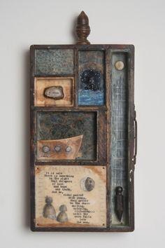 Works | Janet Eskridge Box Frame Art, Box Frames, Letterpress Drawer, Found Object Art, Encaustic Art, Robot Art, Assemblage Art, Retro Futurism, Recycled Art