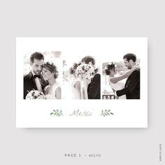Carte de remerciement chic botanique MATHILDE ET PAUL. Remerciez vos proches avec de belles photos de vous à votre mariage. #wedding #mariage #annoucement #annonce #evenement #event #heureux #happy #cartederemerciement #cartederemerciementépurée #cartederemerciementsobre #cartederemerciementclassique #cartederemerciementnature #cartederemerciementélégante #eventofpaper #cartederemerciementlille #fairepart #champetre #printemps #feuillage #chic #moderne #white #blanc #vert #green