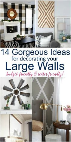 I LOVE 14 Gorgeous Large Wall Decor Ideas that are budget-friendly and renter-friendly, too! I LOVE 14 Gorgeous Large Wall Decor Ideas that are budget-friendly and renter-friendly, too! Diy Home Decor Rustic, Diy Home Decor Bedroom, Diy Home Decor On A Budget, Room Wall Decor, Diy Wall Decor, Living Room Decor, Home Decoration, Decoration Design, Bedroom Kids