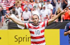 United States' Landon Donovan gestures after scoring on a penalty kick during the first half of a CONCACAF Gold Cup soccer game against Cuba on Saturday, July 13, 2013, in Sandy, Utah. United States defeated Cuba 4-1. (Rick Bowmer/AP)