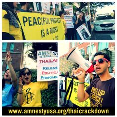 Amnesty led a rally outside the Thai Embassy in DC to support peaceful protests and stop the military crackdown in Amnesty International, Peaceful Protest, Equal Rights, Activists, Social Justice, Human Rights, Good People, Rally, Equality