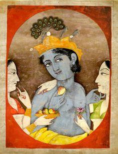 Krishnaṣflanked by two milkmaids ca 1870, Punjab hills, India Pahari School, Kangra Style (via The British Museum)