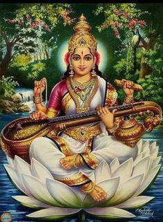Saraswati Mata, Saraswati Goddess, Shiva Shakti, Saraswati Photo, Indian Goddess, Goddess Art, Hindus, Lakshmi Images, Lord Murugan