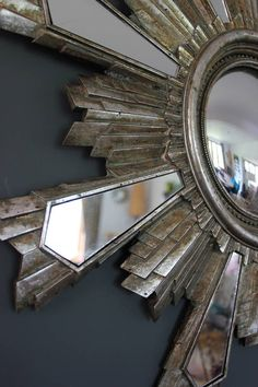 Aged Sunburst Wall Mirror