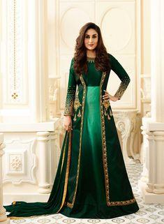 Designer Salwar Kameez - Bollywood Party Wear Green Abaya Style Salwar Suit with Jacket Online USA,UK Indian Gowns, Indian Attire, Pakistani Dresses, Indian Wear, Indian Outfits, Bollywood Party, Bollywood Fashion, Indian Bollywood, Bollywood Suits
