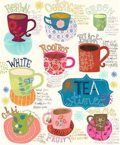 Bellasecretgarden — (via Types of Tea! Tee Illustration, Jill Mcdonald, Buch Design, Tea Quotes, Types Of Tea, Cuppa Tea, My Cup Of Tea, Tea Blends, Food Illustrations