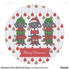 Christmas Three Black Lab Puppies Round Paper Coaster
