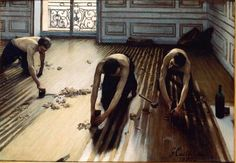 """The Floor Scrapers by Gustave Caillebotte"" Look at the way light is reflected on floor, amazing"