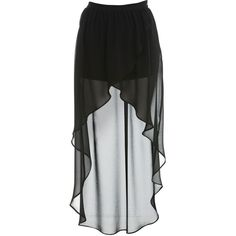PROJECT Black Wrap Drop Back Skirt ($65) ❤ liked on Polyvore featuring skirts, bottoms, black, long skirts, sheer maxi skirt, see through skirt, floor length skirts and long layered skirt