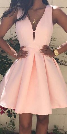 Pink homecoming dress - ALine Deep VNeck Sleeveless Pearl Pink Homecoming Dresses With VBack,Cute homecoming dresses – Pink homecoming dress Pretty Dresses, Sexy Dresses, Fashion Dresses, Summer Dresses, Awesome Dresses, Cute Formal Dresses, Pink Dresses, Formal Gowns, Casual Dresses