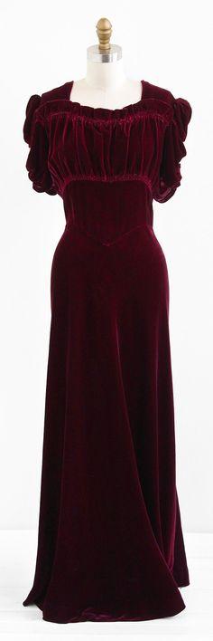 vintage 1930s burgundy silk velvet evening gown | holidays christmas holiday dress | http://rococovintage.etsy.com