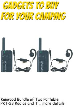 (This is an affiliate pin) Kenwood Bundle of Two Portable PKT-23 Radios and Two KHS-34 C-Ring Earbud Hanger with PTT and Clip Microphone, 1.5 Watts Transmit Power, 4 Channels, 39-QT/168-DQT Coded Squelch, 3 Hour Charge Time